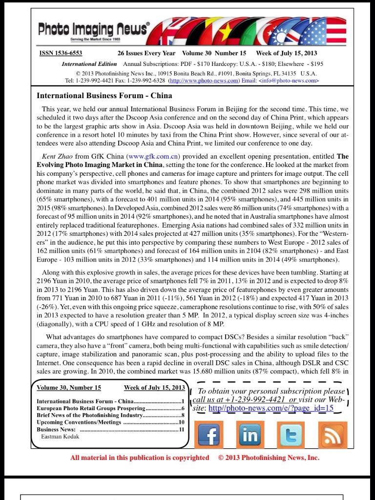 Week of July 15, 2013 – Photo Imaging News International Edition