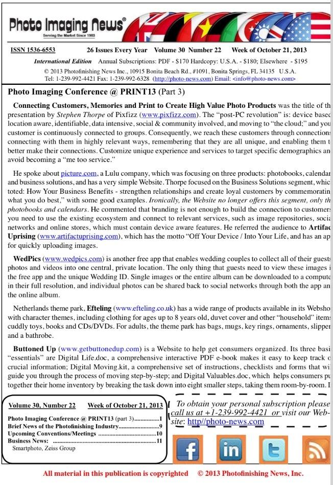 Week of October 21, 2013 – Photo Imaging News International Edition