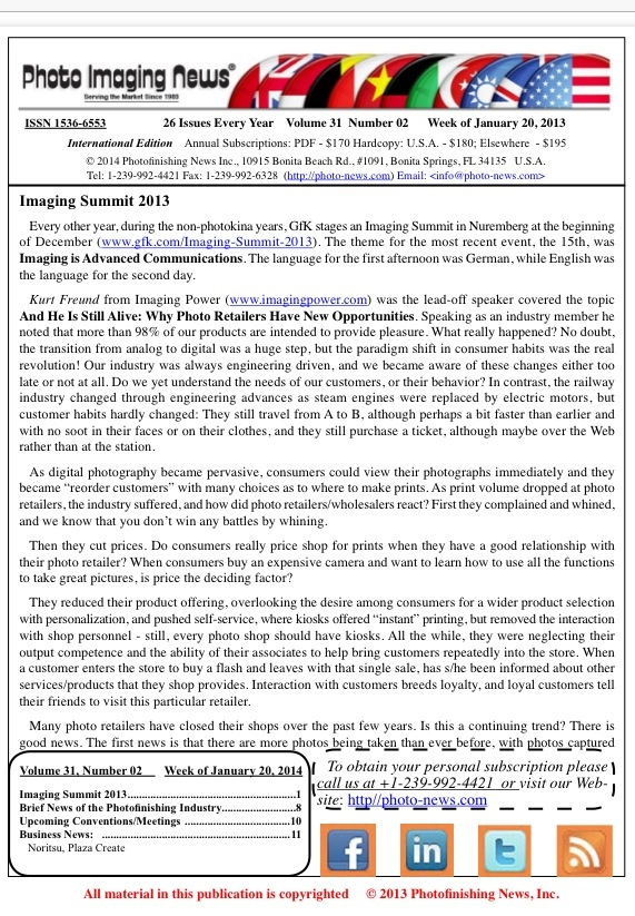Week of January 20, 2014 – Photo Imaging News International Edition